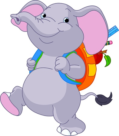 ir al colegio: Lindo elefante en su camino a la escuela