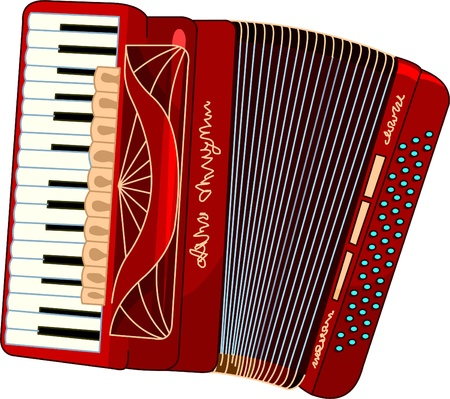 accordion:  Illustration of beautiful red Accordion