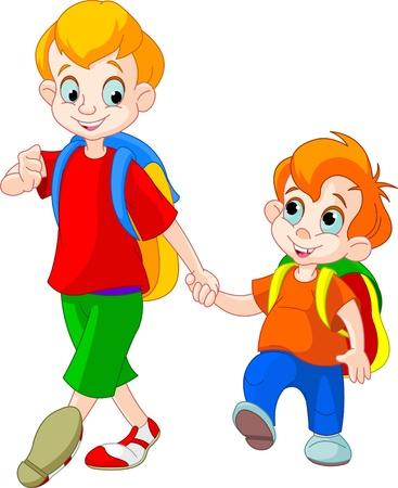 Ilustração de dois irmãos vão para a escola