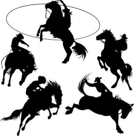 Kowboje na silhouettes koni na białym tle.