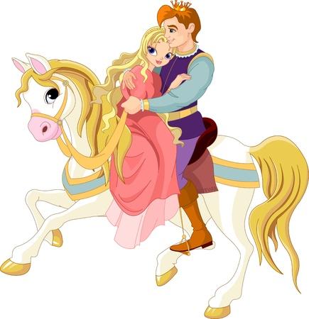 очаровательный: Принц и принцесса на белом коне
