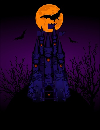 Invitation card with Halloween haunted Castle  Vector