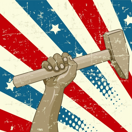 revolution:  Design for Labor Day with worker�s hand holding a hammer Illustration