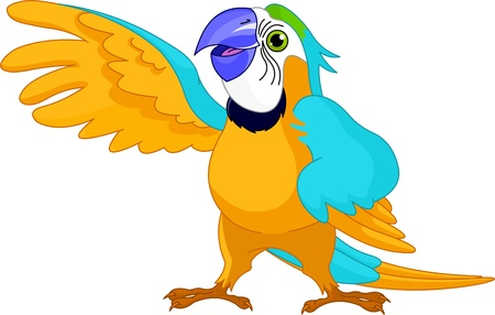 blue parrot:  Illustration of happy talking Parrot Illustration