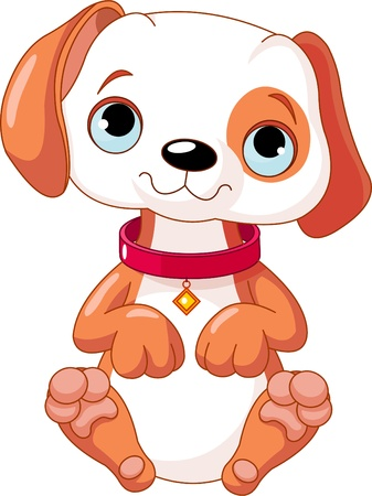 an adorable: Illustration of a cute puppy wearing a red collar