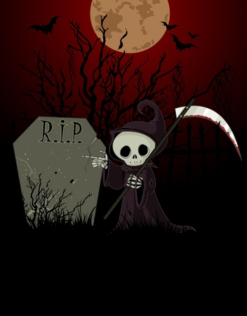 gravestone: Cute cartoon grim reaper with scythe pointing to tombstone