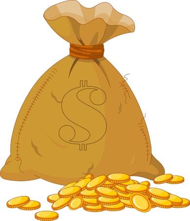 황금 동전의 전체 가방의 그림 일러스트