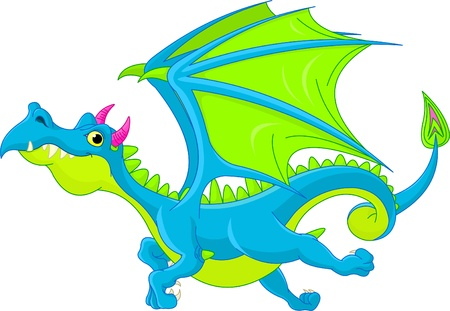 flying dragon: illustration of cute cartoon  dragon flaying Illustration