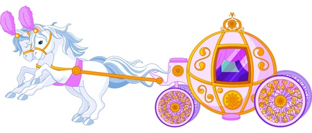 horse drawn carriage:  Beautiful  fairytale  pink carriage Illustration