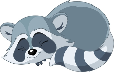 illustration of cute funny sleeping cartoon raccoon Çizim