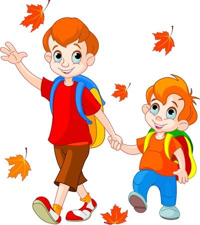 jardin de infantes: Ilustraci�n de dos muchachos van a la escuela