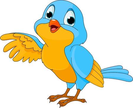 rúdon ülés: rajzfilm illusztráció egy aranyos beszélő madár Illusztráció