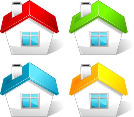 row of houses: Conjunto de iconos de colores casa