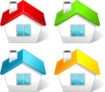Set of  colored house icons