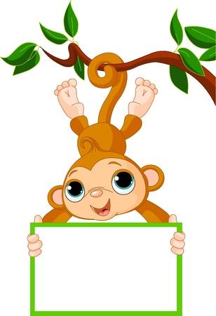 b�b� singe: Singe adorable b�b� sur un arbre holding signe blanc