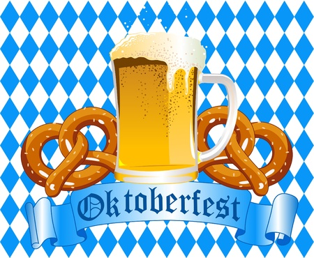Oktober fest Celebration Background with Beer and Pretzel Vector