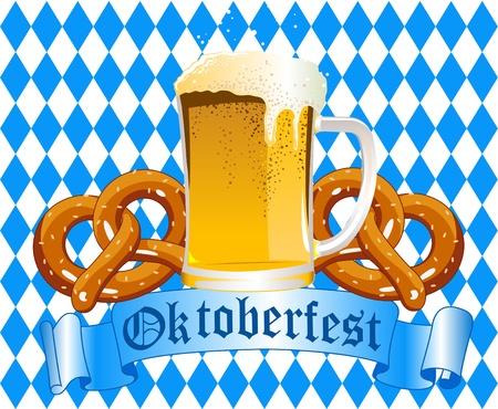 Oktober fest fondo de celebración con cerveza y Pretzel Foto de archivo - 10370043