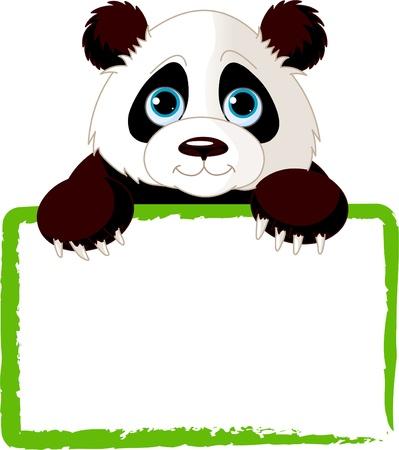 panda: Adorable  Panda Looking Over A Blank Sign   Illustration