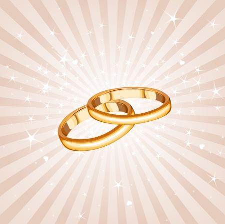 marital: Wedding rings on the radial background  Illustration