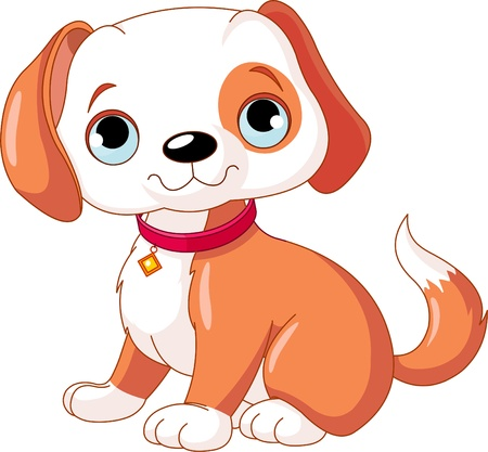 cartoon dog:  Cute puppy, wearing a red collar with a dog tag.