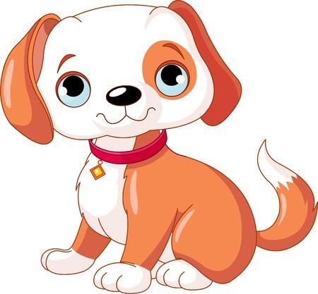 perro caricatura:  Lindo cachorro, luciendo un collar rojo con una etiqueta de perro. Vectores