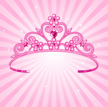 Beautiful shining  princess crown on radial background Vector