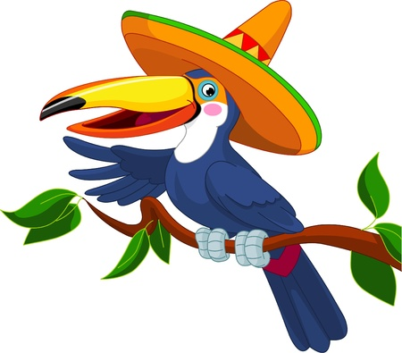 large bird: Illustration of toucan with sombrero sitting on tree branch