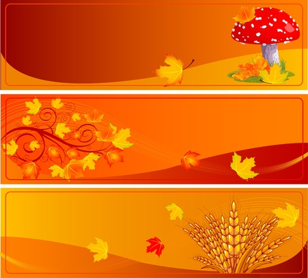 Autumn banners with space for text