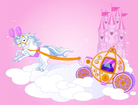 castle cartoon:  Illustration of a Fairy Tale carriage in the sky Illustration