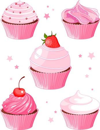 5 様々 なケーキのセット  イラスト・ベクター素材