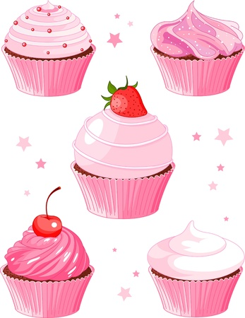 cake with icing: Set of  five various cupcake