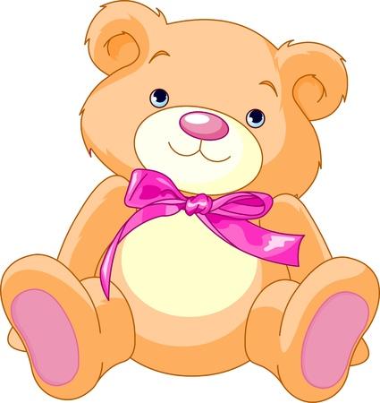 teddy bear cartoon: A rough, painterly child Illustration
