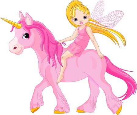 hadas caricatura: Linda hada poco montando un unicornio