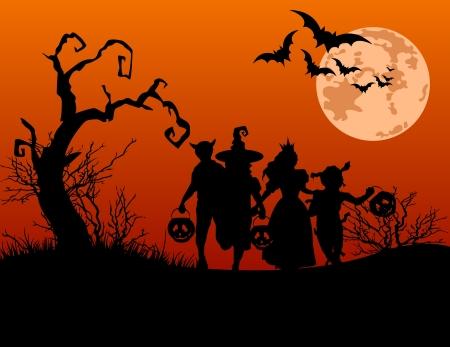 truc: Halloween achtergrond met silhouetten van kinderen truc of behandelen in Halloween kostuum Stock Illustratie