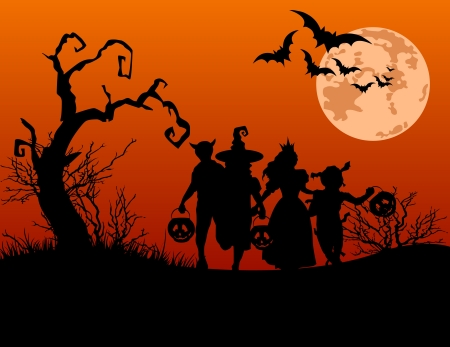 costumes: Halloween background with silhouettes of children trick or treating in Halloween costume Illustration