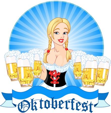 オクトーバーフェスト女の子ビールを提供のイラスト
