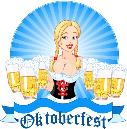 Illustration of Oktoberfest girl serving beer
