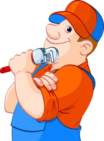 Cartoon illustration of a plumber holding a spanner