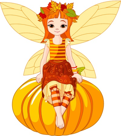 Autumn fairy girl sitting on pumpkin Vector