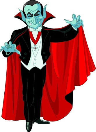 Cartoon Count Dracula posing with his swirling cape