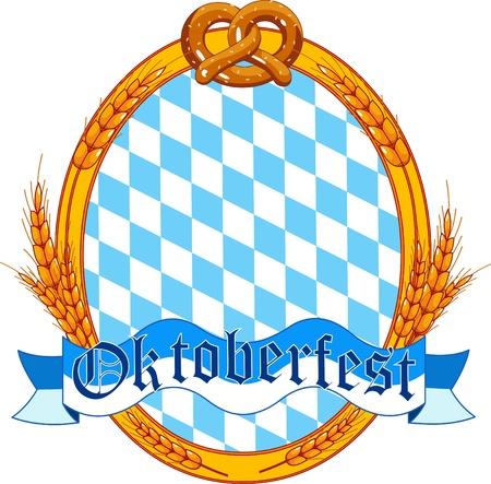 Diseño de etiqueta oval Oktoberfest con lugar para texto