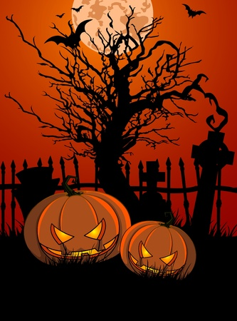 Halloween Illustration with Tombstone and Pumpkins for banners or invite  Illustration