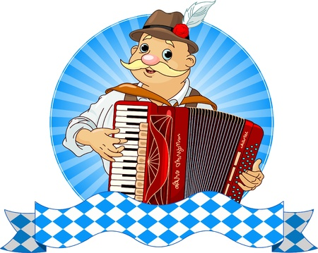 fest: Oktoberfest Accordion Player  with stripe for text Illustration