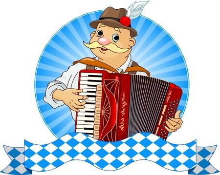 acordeón: Oktoberfest acordeón jugador con bandas de texto Vectores