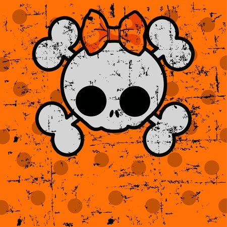 cute cartoon girl:  Halloween Skull with bow on dotted background with place for copytext Illustration