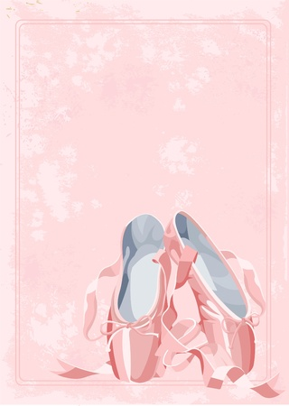 A pair of watercolor stile ballet pointes shoes on old paper background