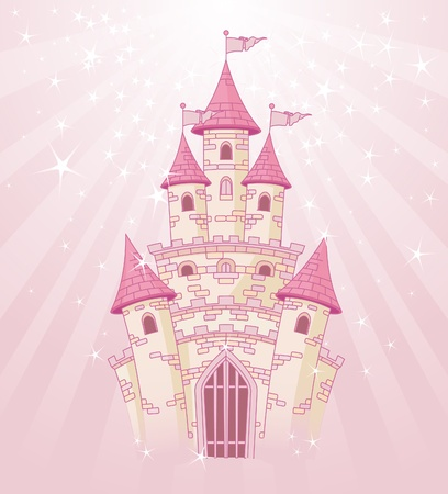 Illustration of a Fairy Tale princess pink castle on radial background Vector