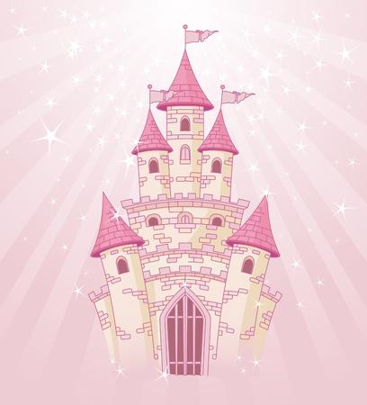 princesa: Ilustración de un castillo rosado princesa de cuento de hadas sobre fondo radial