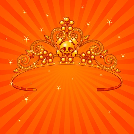 beauty queen: Beautiful shining Halloween princess crown on radial background Illustration