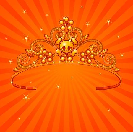 prestige: Beautiful shining Halloween princess crown on radial background Illustration